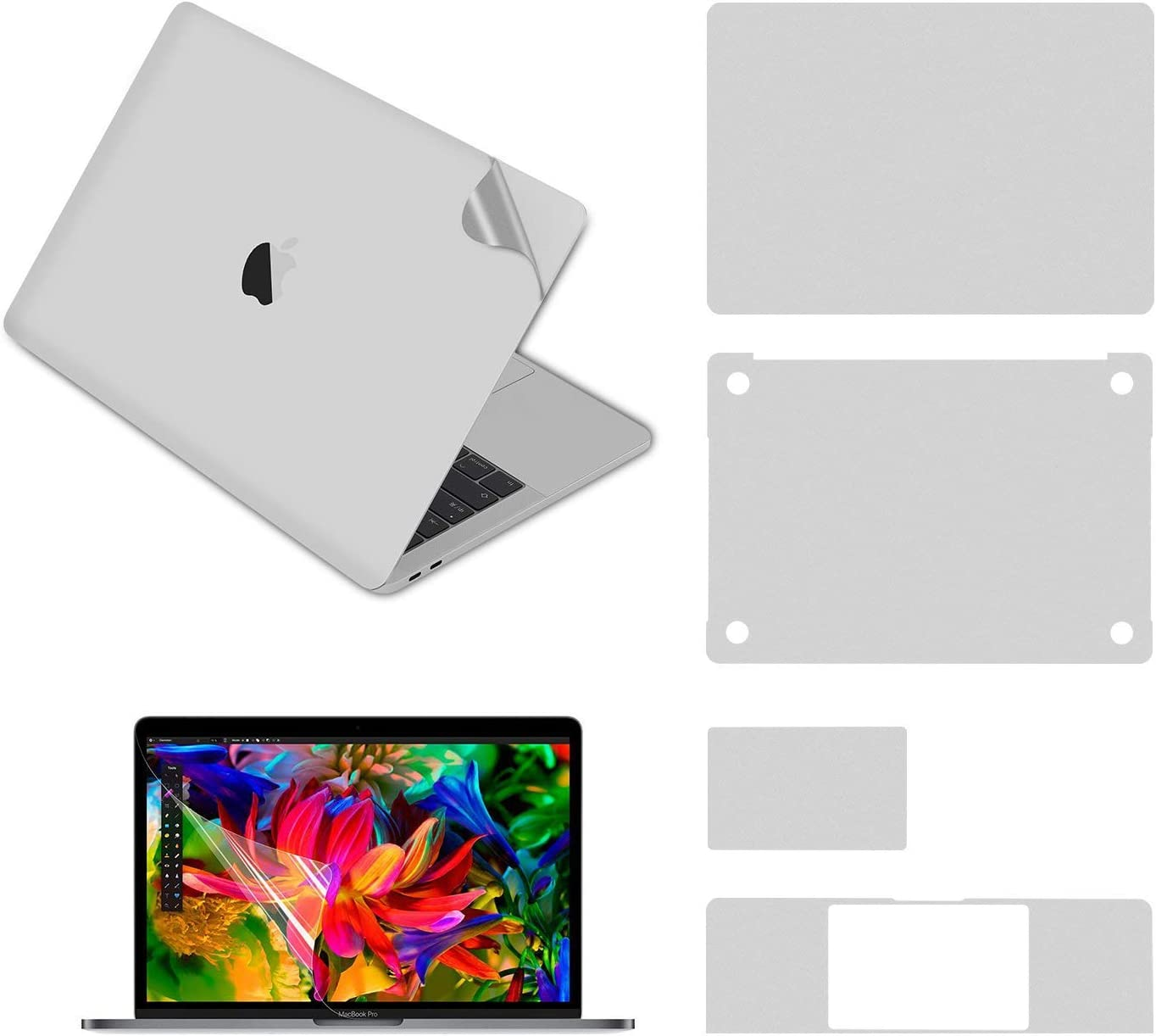 """Pwkutn 5-in-1 Notebook Computer Full Body Protective Skin Decals Stickers for MacBook Pro 16"""" with (A2141 2019 Release) Silver"""