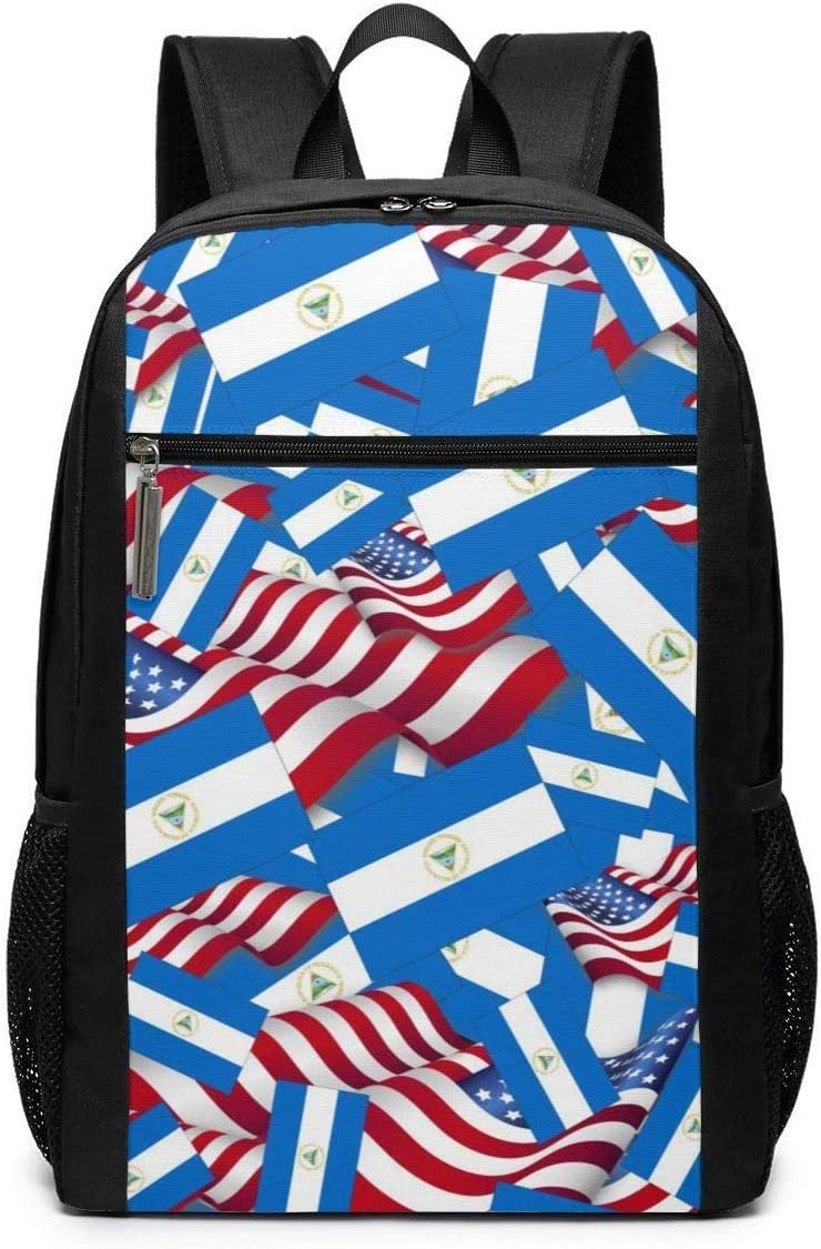 LONGJIN Bolsa para Laptop Laptop Backpack Nicaragua Flag with America Flag Business Travel Computer Bag for Women and Men College School Backpack Fits in Laptop Notebook Bookbag