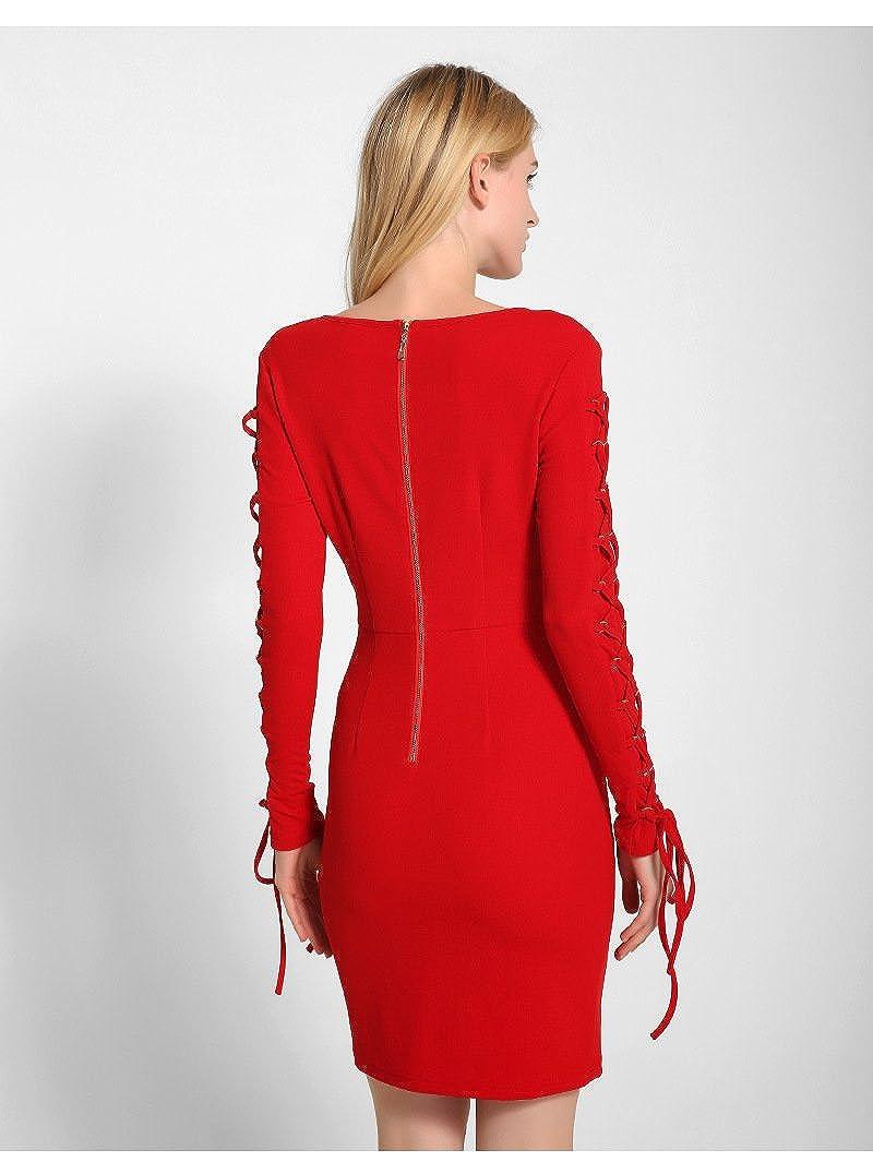 ACVIP Womens Summer V Neck Long Sleeve Zipper Design One Piece Mini Dress