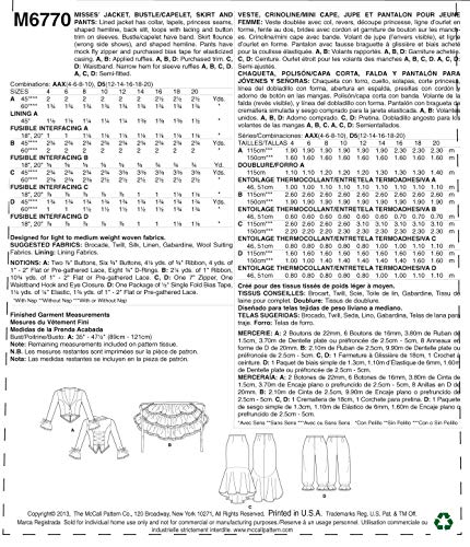 McCall Pattern Company M6770 Misses' Jacket, Bustle/Capelet, Skirt and  Pants Sewing Template, Size D5 (12-14-16-18-20)