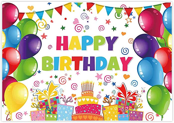 Allenjoy 7x5ft Colorful Happy Birthday Backdrops Decorations Banner for Children Newborn Baby Shower Balloons Candy Bar Gifts Table Background Kids Celebration Backdrops Party Supplies Favors Props
