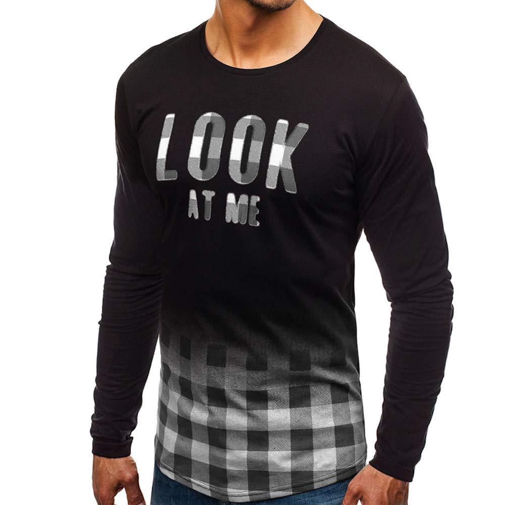 Yvelands Camisas para Hombres de Manga Larga Casual, Camiseta de Manga Larga para Hombres MIRARME Imprimir Top: Amazon.es: Ropa y accesorios