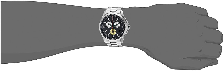 7046bd61748 Gucci Men s G-Timeless 44mm Bracelet - YA126267 Black Steel  Amazon.ca   Watches