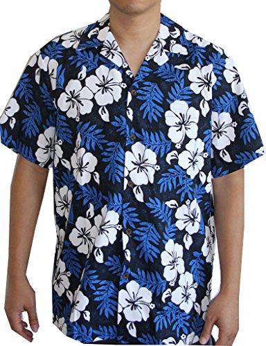 [Sale:Island White Flowers Blue Hawaiian Aloha Shirt (XL, Blue)] (Hibiscus Blue Aloha Shirt)