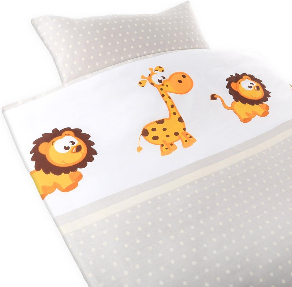 Gräfenstayn® 2 piezas Juego de cama para niños con motivos de animales y cremallera integrada hecha de 100% algodón, funda nórdica de 135x100 cm y funda de almohada de 60 x 40cm (Jirafa & León)