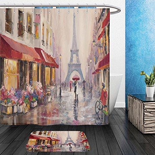 Vanfan Bathroom 2Suits 1 Shower Curtains & 1 Floor Mats original oil painting on canvas paris eiffel tower a pair of lovers under an umbrella 594785318 From Bath room - Echelon Echelon Shower Locker