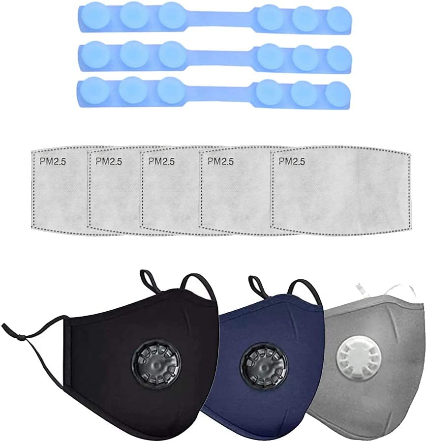 6 Filter with 3PCS Ear Grips Extension Hook Sequn Adult Face Cotton Bandanas with Filter Washable Anti Dust Anti-ultraviolet Face Protection 3PCS