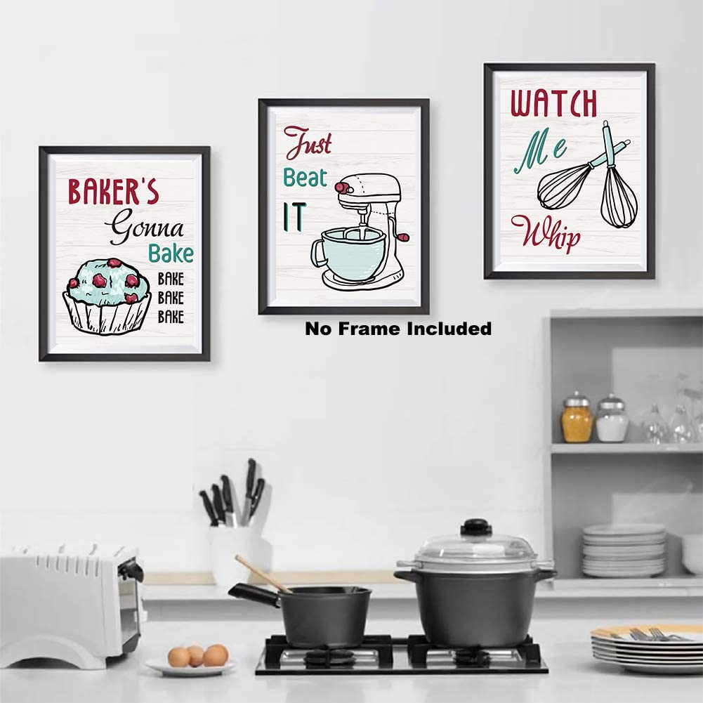 8x10 Home Decor Funny Gift 6 Kitchen Wall Art Prints Kitchenware With Sayings Unframed Farmhouse Home Office Organization Signs Bar Accessories Decorations Sets White House Deco Kitchen Decor Wall Pediments Home