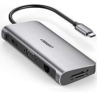 9 En 1 UGREEN Hub USB C 3.1 (Thunderbolt 3) a HDMI 4K 60Hz, VGA 1080P, Gigabit Ethernet, 3 Puertos USB 3.0, 60W Power Delivery, Lector Tarjetas SD TF para Macbook Pro 2017 , Macbook Air2018, iMac 2017, Macbook, Dell XPS 13 15, Google Chromebook, Huawei P30/ P30 Pro/ P20/ P20 Pro/ Mate20 Pro/ Mate10 Pro, SAMSUNG Galaxy S10 S9 S8 Plus etc.
