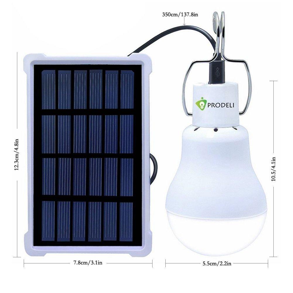 Solar Bulb, PRODELI LED Lantern Tent Light Bulb for Camping Hiking Fishing Solar Panel Powered Emergency Light S-1500 150LM 1600mA [Upgraded Version]