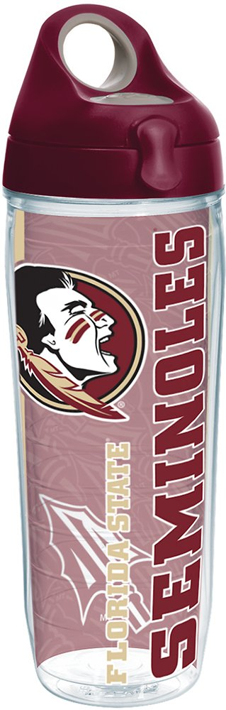 Tervis 1237831 Florida State Seminoles College Pride Tumbler with Wrap and Maroon Lid 24oz Water Bottle Clear