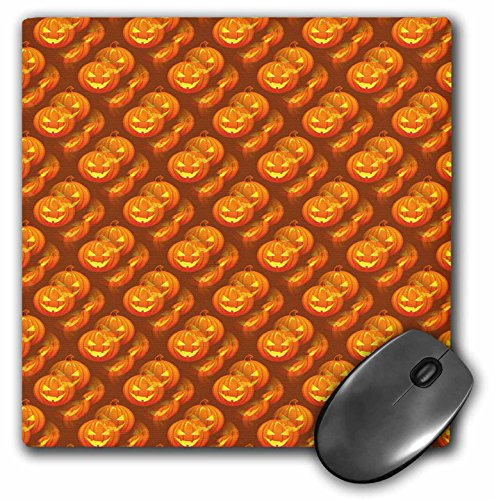 3dRose Anne Marie Baugh - Halloween - Halloween Orange Scattered and Layered Carved Pumpkin Pattern - Mousepad -