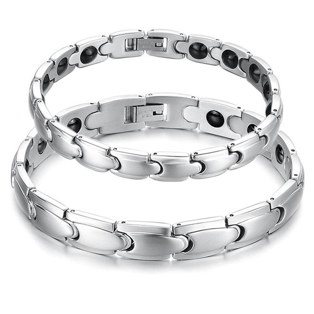 Feraco Women Sleek Stainless Steel Magnetic Therapy Bracelet Pain Relief For Arthritis with Free Removal Tool