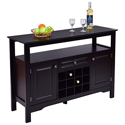 Giantex Black Buffet Server Wood Cabinet Sideboard Cupboard Table With/wine  Rack