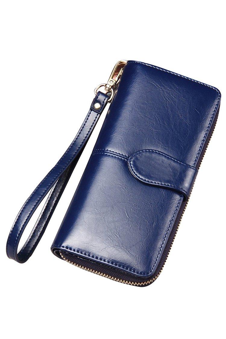 Women's Blocking Leather Wallet Large Capacity Wristlet Handbag Clutch Dark Blue