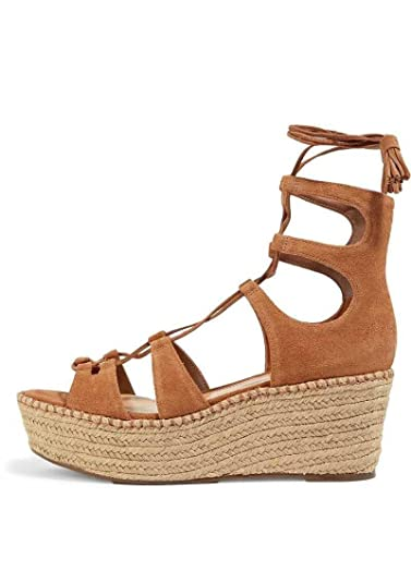 dfe84131d515 SCHUTZ Hudson Saddle Lace-Up Suede Wedge Sandals Brown Suede Flatform  Platform (5)