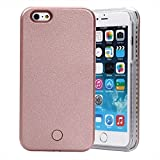 """AENMIL Luminous Selfie Case For iPhone 5/5G/5S/SE 4"""", Vogue Led Light Up Luminous Cellphone Illuminated Back Cover with Battery Built-in For Apple(Rose Gold)"""