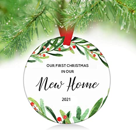 Our First Christmas 2021 Ornament Amazon Com Zunon Our First Christmas In Our New Home Ornaments 2021 New Couple Married Wedding Decoration 3 Ornament New Home Ornament 1 Kitchen Dining