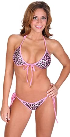 60a5068012f14 Delicate Illusions womens 2 piece bathing suit pink leopard foil scrunch  bottom