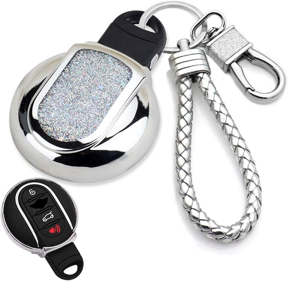 Senauto Quicksand Key Fob Cover Case Keychain for Mini Cooper F54 F55 F56 F60 F57 2014-UP Black