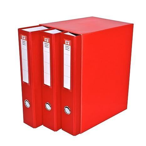 MP PC171-04 - Pack de 3 archivadores, color rojo