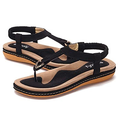 19fab00a0ef3c gracosy Women Summer Flat Sandals Bohemian Flip Flops Thongs Comfortable  Elastic Clip Toe Flat Beach Sandals Low Wedge Heel Shoes Slingback Slip on  Casual ...