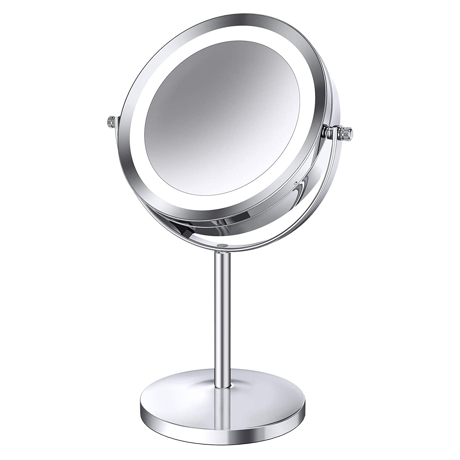 Amazon Com Benbilry Lighted Makeup Mirror Led Double Sided 1x 10x Magnification Cosmetic Mirror 7 Inch Battery Powered 360 Degree Rotation Vanity Mirror With On Off Push Button 10x Button Switch Mirror Beauty