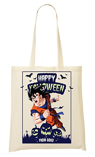 happy halloween from goku dragon ball anime dbz jack o lantern shopping tote bag