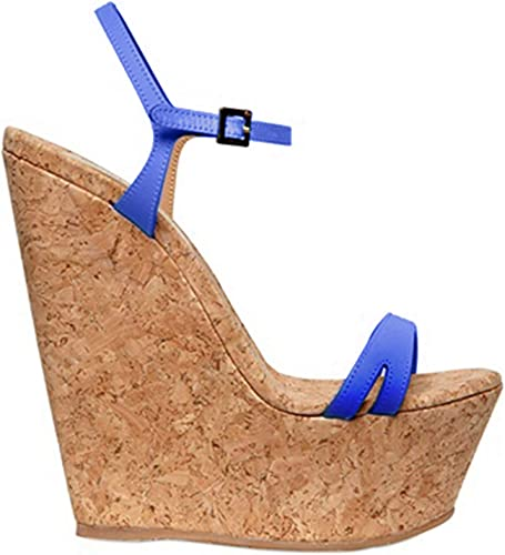 Women/'s Platform Party Ankle strap Wedges Ladies High Wedge Suede Shoes