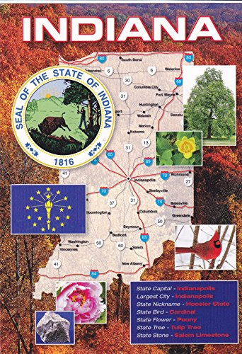 (STATES1IND - THE STATE OF INDIANA POST CARD MAP ; State Nickname - HOOSIER STATE ; .- Statehood: 1816; Capital: Indianapolis; State Bird: Cardinal; State Flower: Peony; A U.S. State POSTCARD .... from HibiscusExpress)