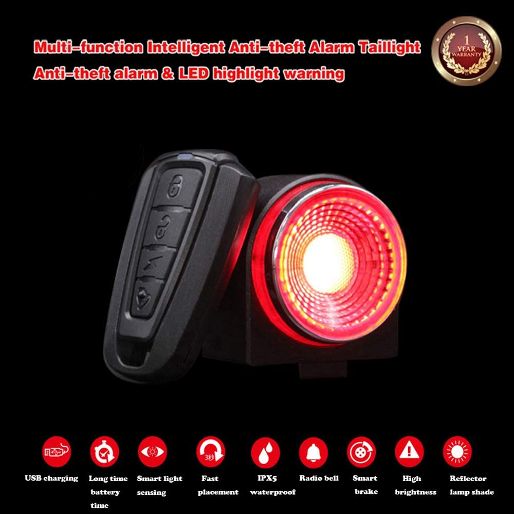 Anti Theft Bicycle Alarm Rear Light with Remote USB Rechargeable Ultra Bright Back Bike Lights G Keni Bike Alarm Tail Light with Smart Brake Sensing Waterproof LED Taillights for Bike Accessories