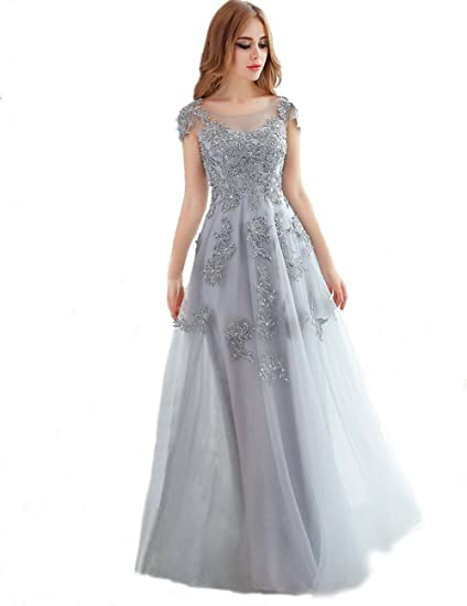 nymph Womens Lace Tulle Floor Length With Sleeves Prom Evening Dresses: Amazon.co.uk: Clothing