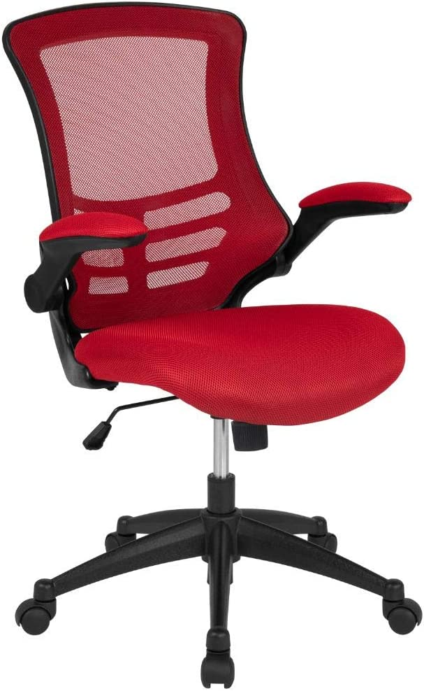 Flash Furniture Mid-Back Red Mesh Swivel Ergonomic Task Office Chair with Flip-Up Arms, BIFMA Certified