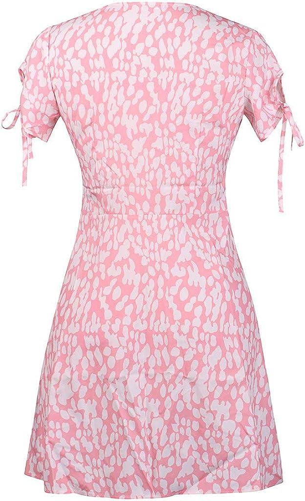Calipers Women Deep V Neck Button Mini Dress Summer Boho Printed ...