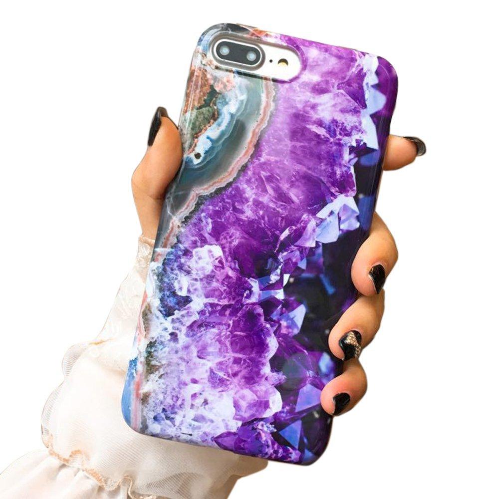 iPhone 7 Plusケース、iPhone 8 Plusケース、SECOWELパープルクリスタルマーブルアンチスクラッチ&指紋衝撃吸収IMD iPhone 7 Plus/iPhone 8 Plus 5.5用保護TPUケース   B07FZ3PFZ1