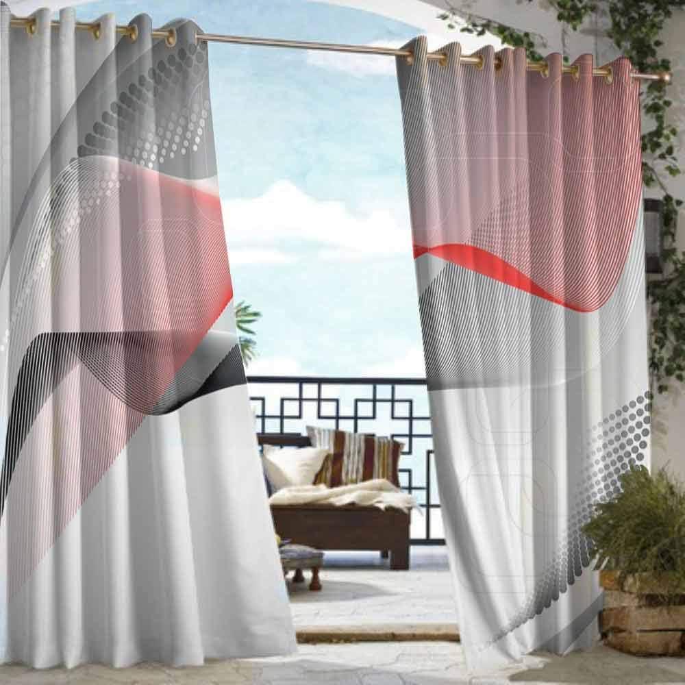 DILITECK - Cortina de Puerta corredera, diseño Abstracto, composición Digital Moderna con Elementos geométricos Cuadrados, Ondas Curvas para Patio/Porche Frontal, Color Rojo, Gris y Negro: Amazon.es: Jardín