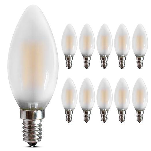 LED E14 de color blanco cálido regulable bombilla, 2700 Kelvin, 400 Lúmenes, cristal mate, ...