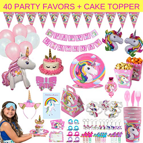 Unicorn Party Supplies - 197 pc Set With Unicorn Themed Party Favors! Pink Unicorn Headband for Girls, Birthday Party Decorations, Unicorn Balloons, Pin the Horn on the Unicorn Game and more| Serve 10! ()