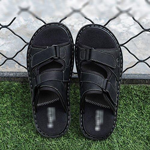 Sandali All'aria Nero Scarpe Pantofole Fondo Marrone Nero Estate HUO Guida Uomo Aperta Movimento Moda Da Casuale Spiaggia Di Morbido Grigio Maschile qEC1rqnxT