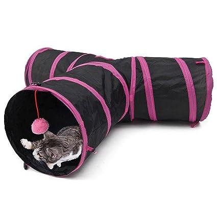 FOONEE Túnel Plegable de 3 Formas para Gatos, túnel de Juego con Pelota para Gatos