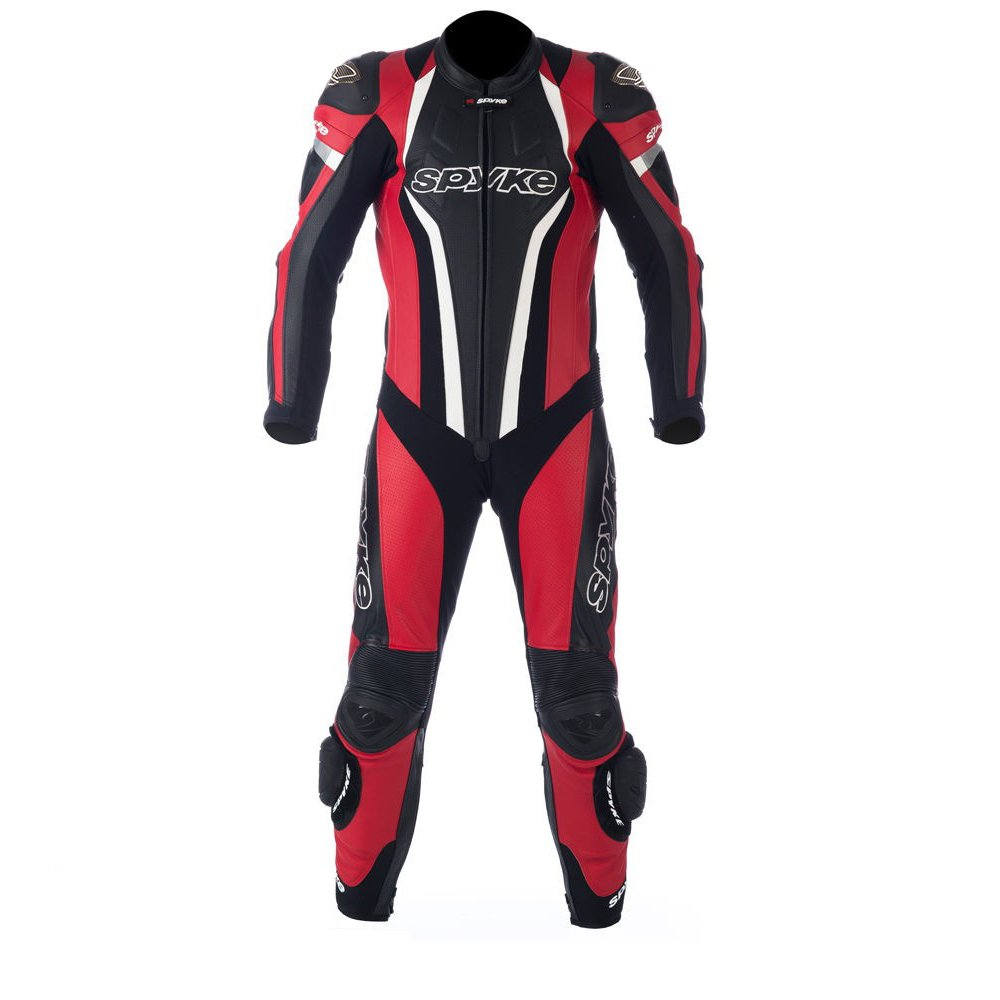Spyke TOP SPORT MIX KANGAROO Leather Motorcycle Racing Suits for Men Red/Black/White US M/50 EU