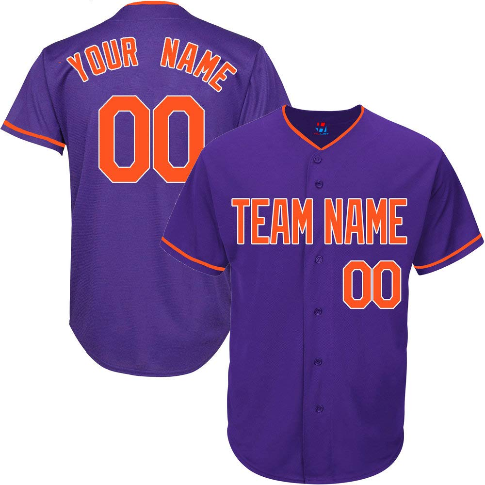 Purple Custom Baseball Jersey for Men Big and Tall Throwback Embroidered Team Player Name & Numbers,Orange-White Size 4XL by Pullonsy