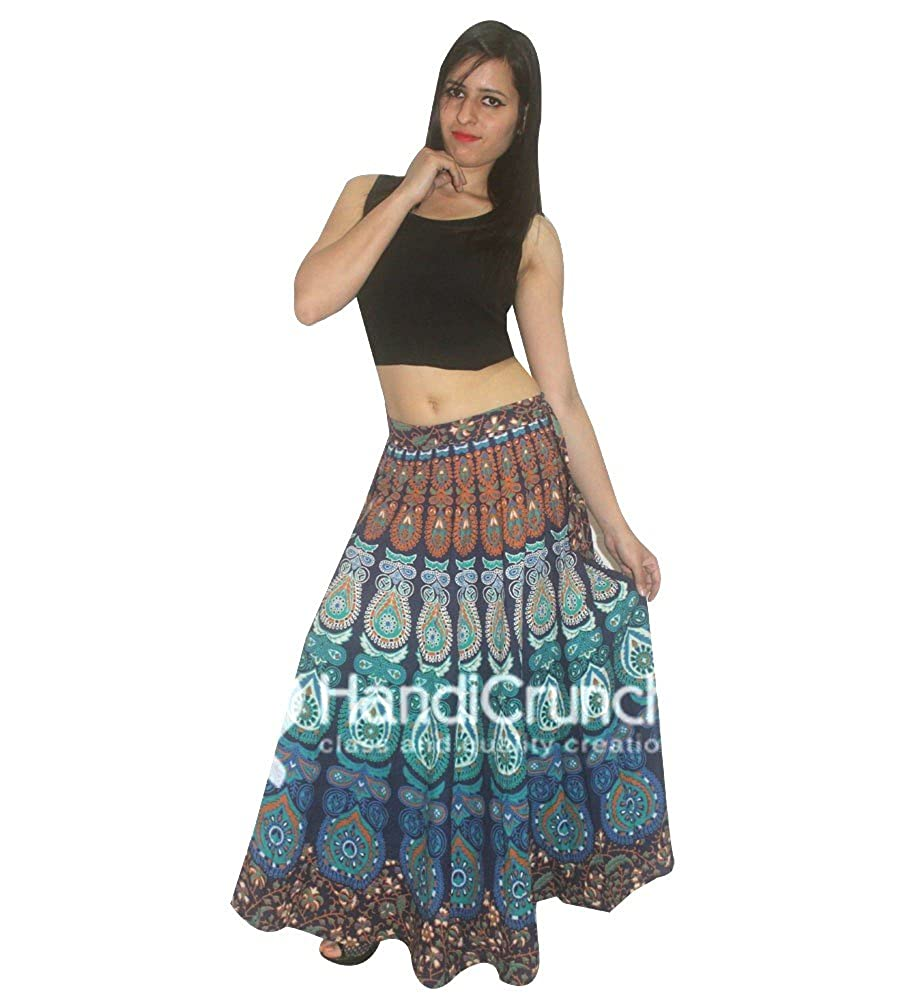 d51856579 HANDMADE EXPORTS Indian 100% Cotton Women Long Skirt Multicolored Hippie  Peacock Feather Mandala Rapron Floral Rajasthani Print Maxi Skirts for Boho  Womens