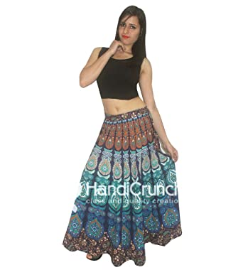 dda0d4617e HANDMADE EXPORTS Indian 100% Cotton Women Long Skirt Multicolored Hippie  Peacock Feather Mandala Rapron Floral