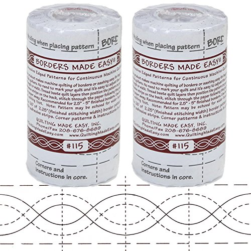 Bundle of 2 Packages of Borders Made Easy Adhesive Backed Patterns for Continuous Machine Quilting, includes Corners, 26 feet by 2.25 inches, Pattern No. 115 by Borders Made Easy