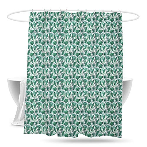 yishangjiajushanghang Bathroom Curtains Banana Leaf Monstera Areca and Fan Palm Leaves in Green Artistic Natural Pattern Shower Curtains in Bath W70×L70 Jade Green White