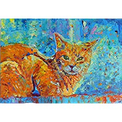 Cat Painting Pet Animals ORIGINAL GENUINE OIL Fine Art Work Impasto Palette Knife Hand Painted