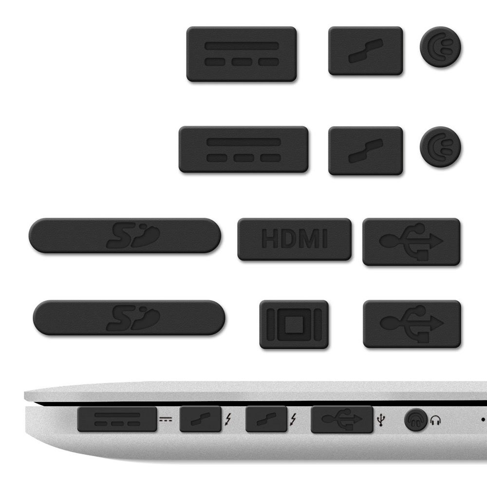 """12x Tapones Anti-Polvo para Apple MacBook Pro 13"""" 15"""" Retina / Air 11"""" 13"""", Protector de Puertos en Negro, Electrónica Rey® ##i217##"""