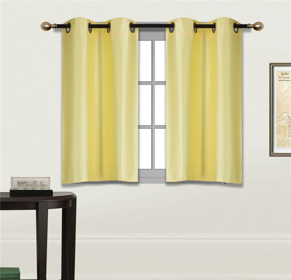 Grommets Panels Window Curtain Semi Sheer Drape Treatment Yellow