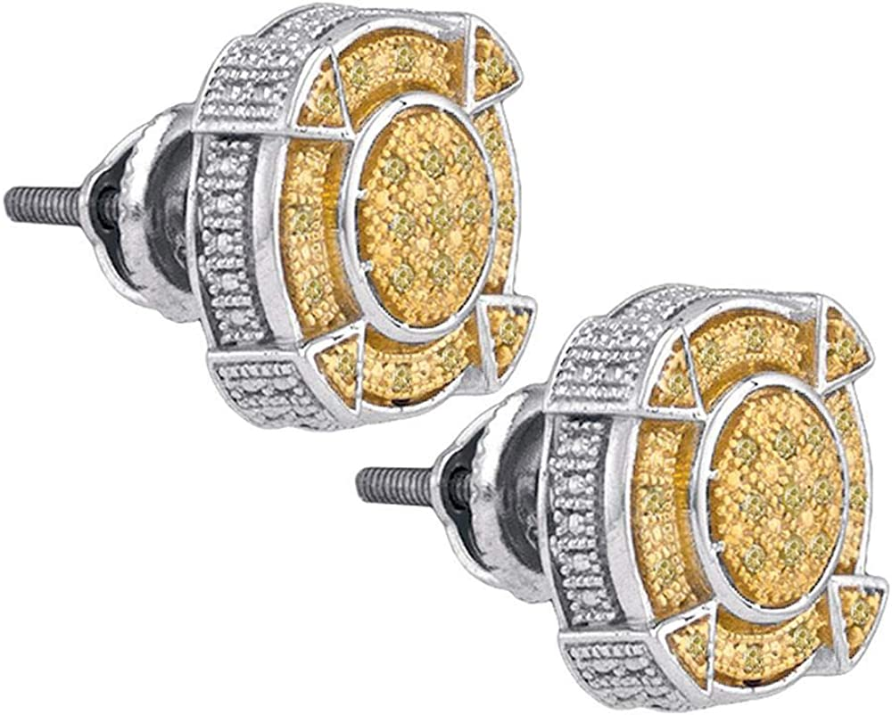 Jewels By Lux Sterling Silver Mens Round Yellow Color Enhanced Diamond Cluster Earrings 1//8 Cttw In Pave Setting I2-I3 clarity; Yellow color